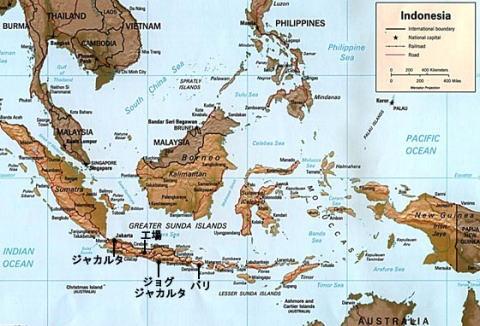 かつら工場訪問記 インドネシア地図