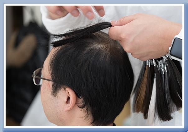 髪色、白髪の混じり具合、毛密度等が指定可能
