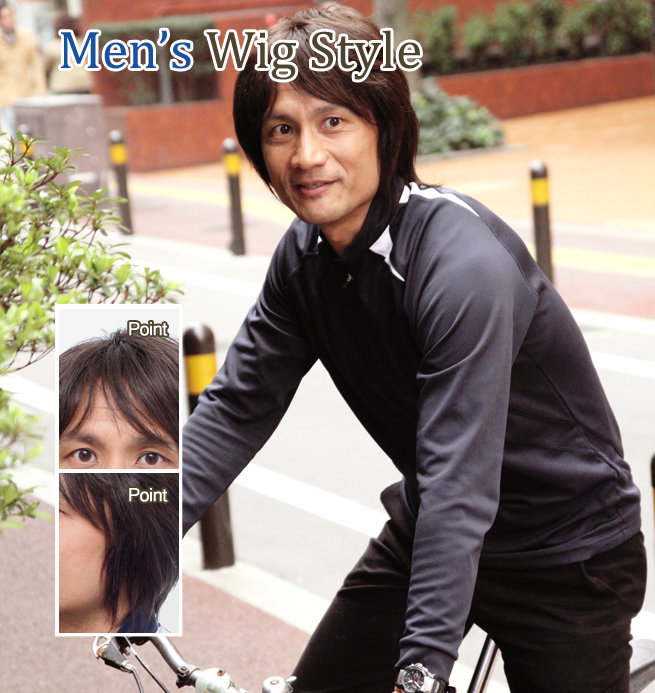 ロングスタイル全かつら男性髪型モデル006